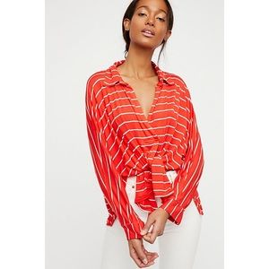 Free People | Can't Fool Me Red Striped Top
